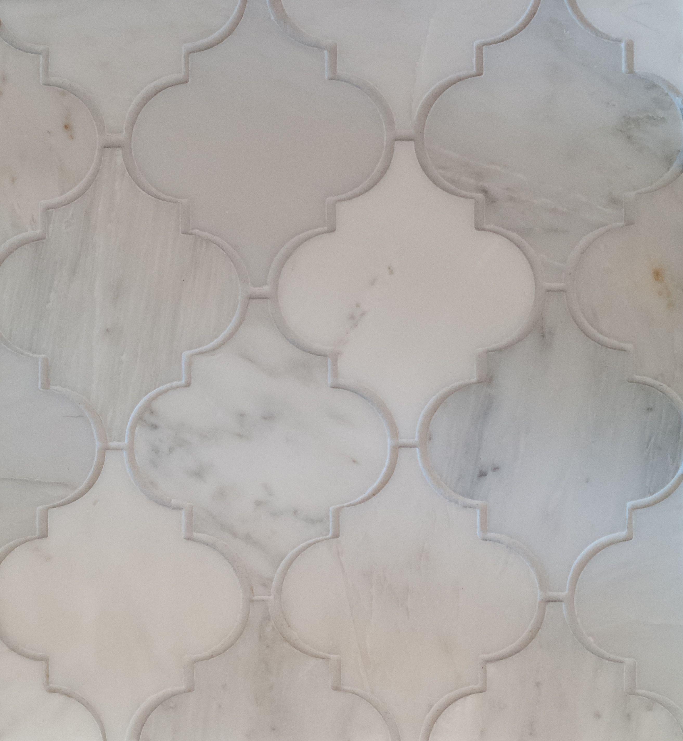Arabesque Tile Oriental White Marble Honed For
