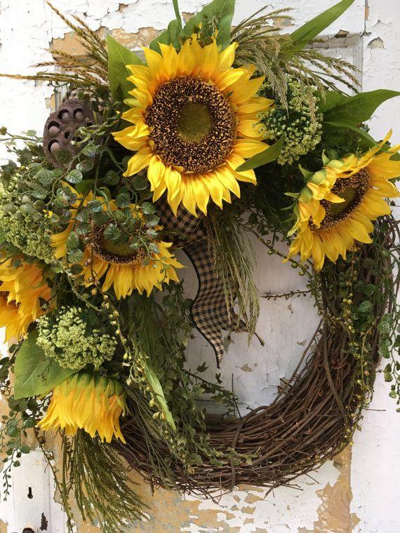 Gentil Summer Wreath, Fall Wreath, Sunflower Wreath, Front Door Wreath,Rustic  Wreath, Housewarming Gift | Sunflower Wreaths, Front Door Wreaths And Door  Wreaths