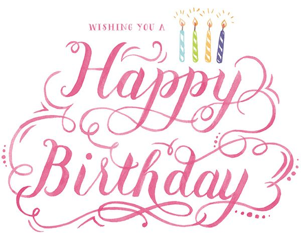 Calligraphy Fonts Greeting Cards Hand Lettering Happy Birthday