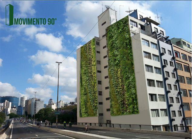 Simulação de como ficará o jardim vertical no edifício da rua Helvética, próximo ao Minhocão