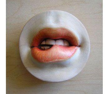 Julia Harrison.  brooch in maple, lacquer, wax, nickel, magnet.  #alt #jewellery #mouth
