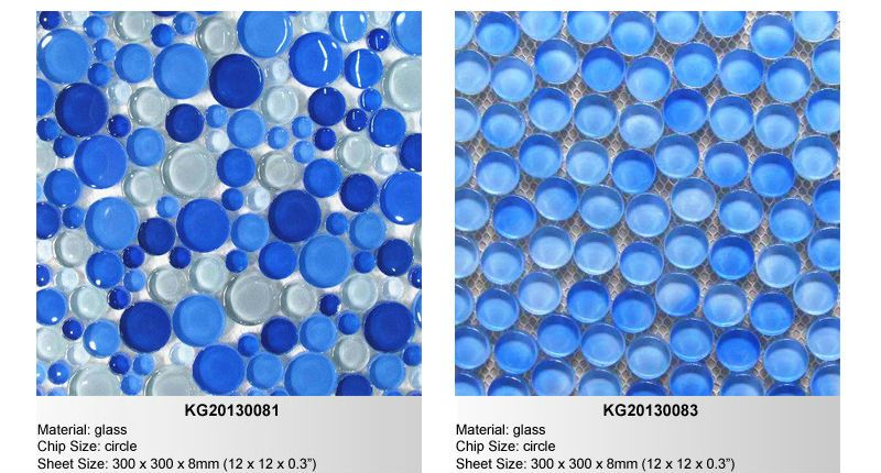 Blue Bubble Gl Tile Mosaic