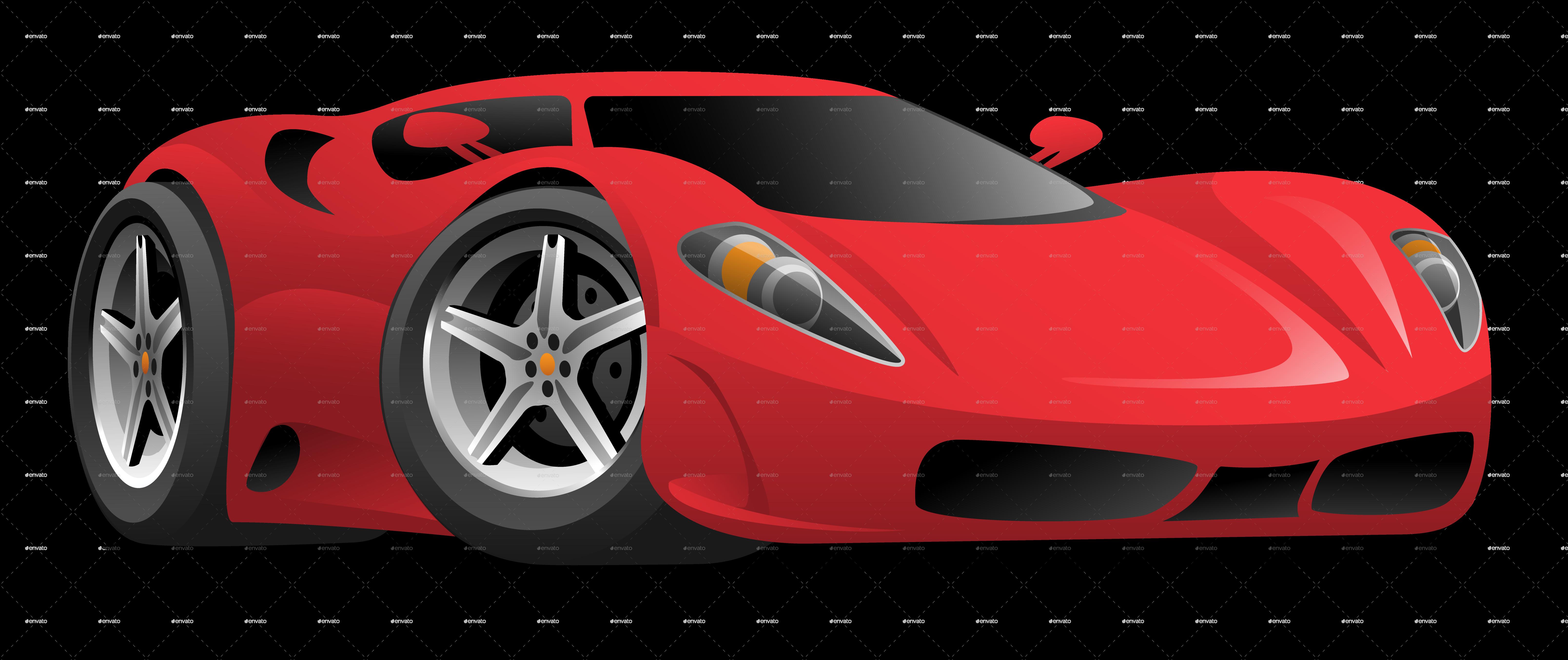 Red Hot European Style Sports Car Cartoon Car Cartoon Sports Car Car