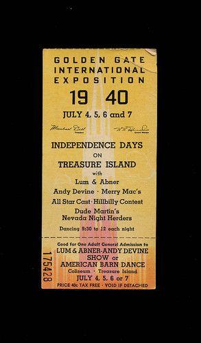 RARE July 4 1940 Golden Gate International Exposition Ticket San Francisco Expo   eBay