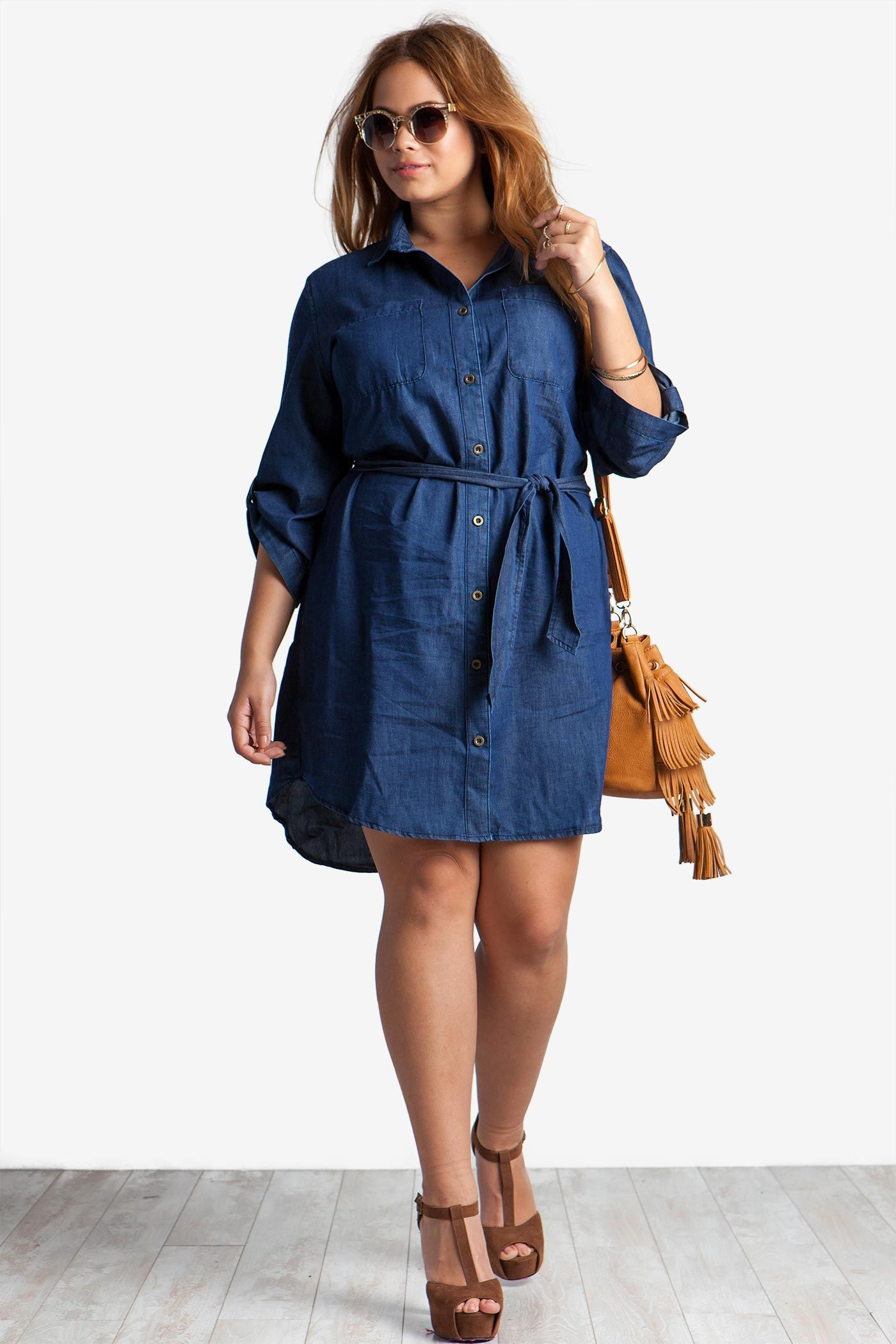 Plus Size Casual Dresses Plus Size Chambray Shirtdress Agaci