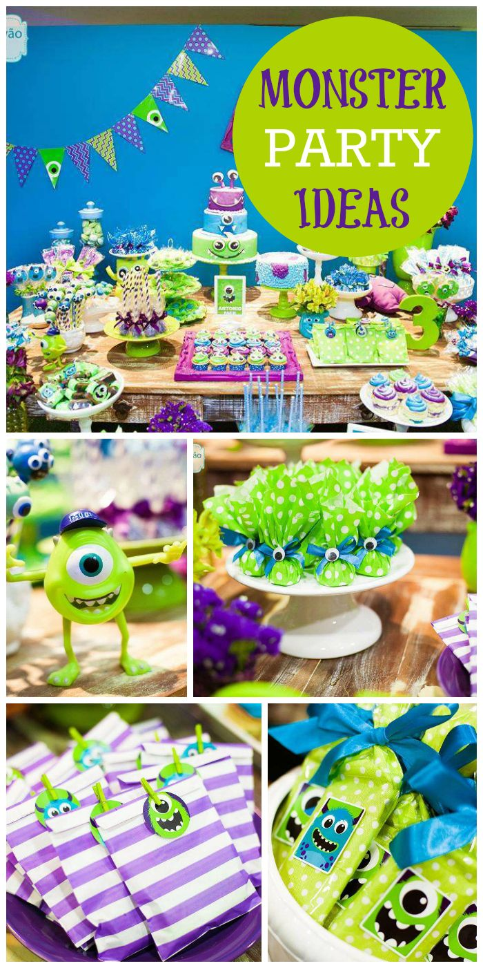 A green and purple Monster boy birthday party with fun favors and decorations! See more  sc 1 st  Pinterest & Monster Party / Birthday