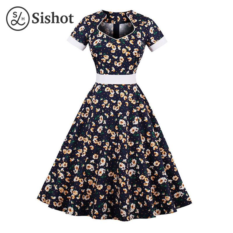 2e87814841014 Women Vintage Dresses Summer Dark Blue Floral Prints Knee Length ...