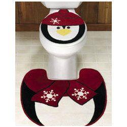 Penguin Toilet Lid Cover & Rug Set | All Things Penguin | Pinterest ...