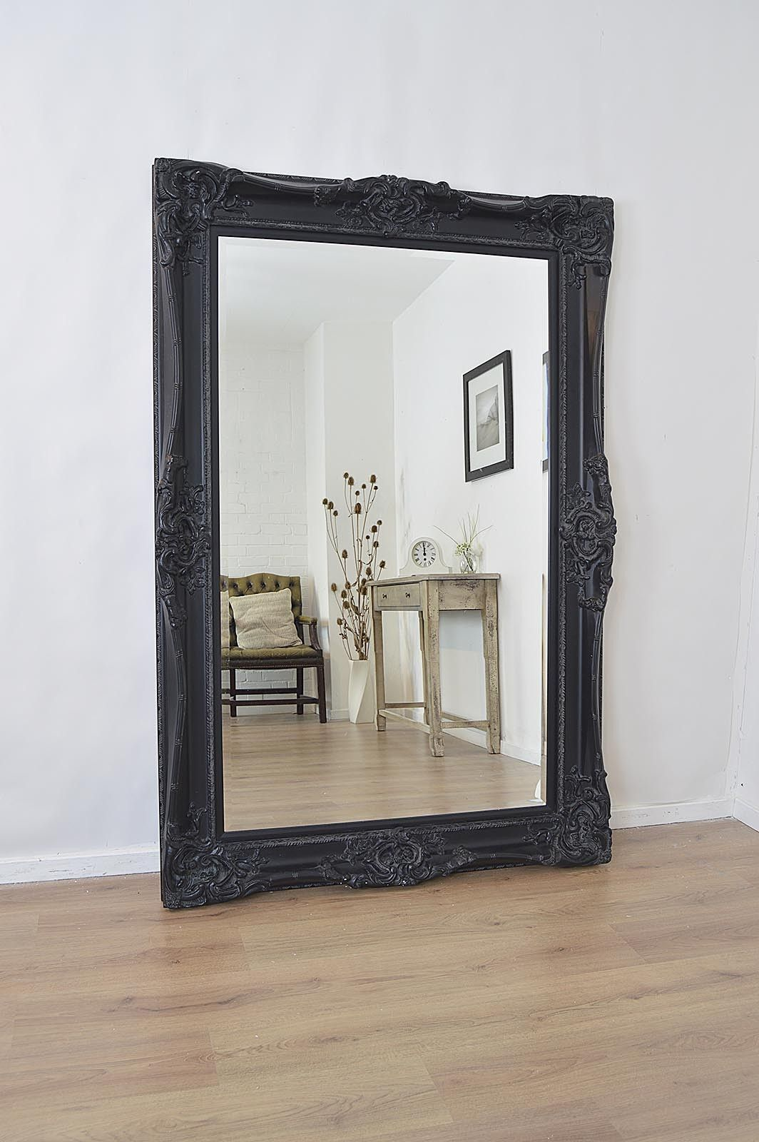 6ft X 4ft Large Black Antique Style Rectangle Wood Wall Mirror Overmantle Bedroom Decor