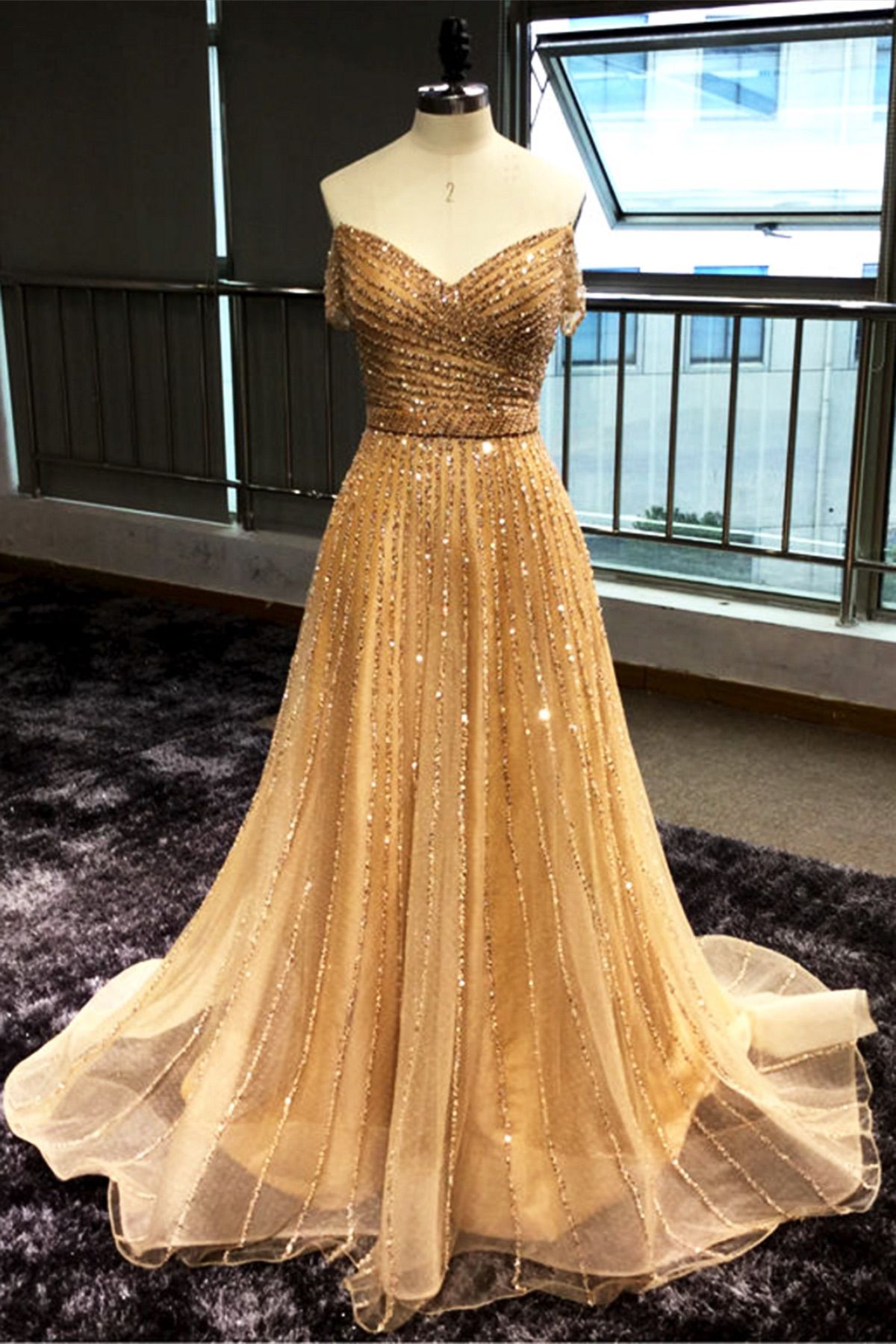 Shinny Sequins Off Shoulder Long Sequins Evening Dress From