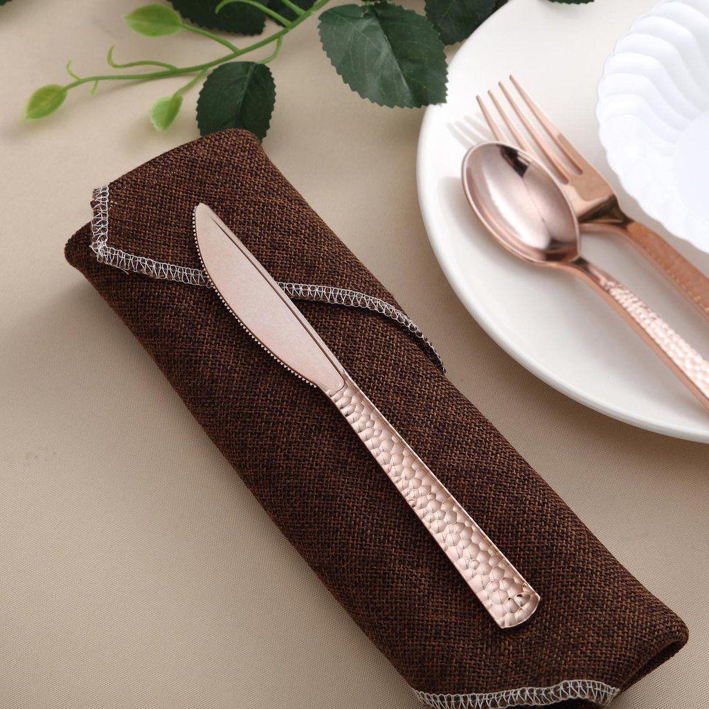 Polished Rose Gold Pack of 24 Plastic Fork Bag