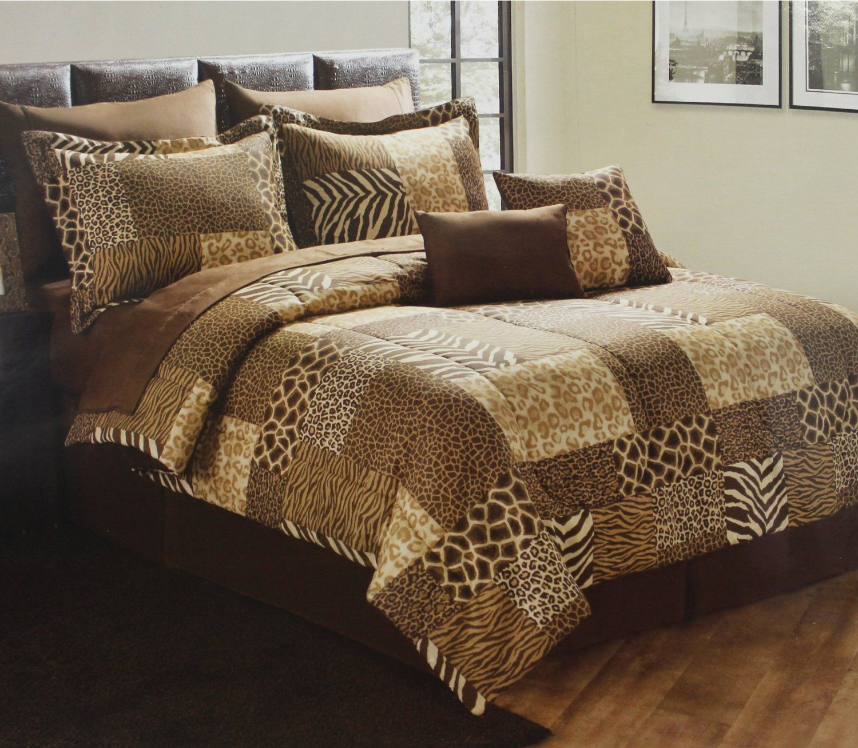 Cheetah Quilt Design Leopard Patchwork Print Bedding