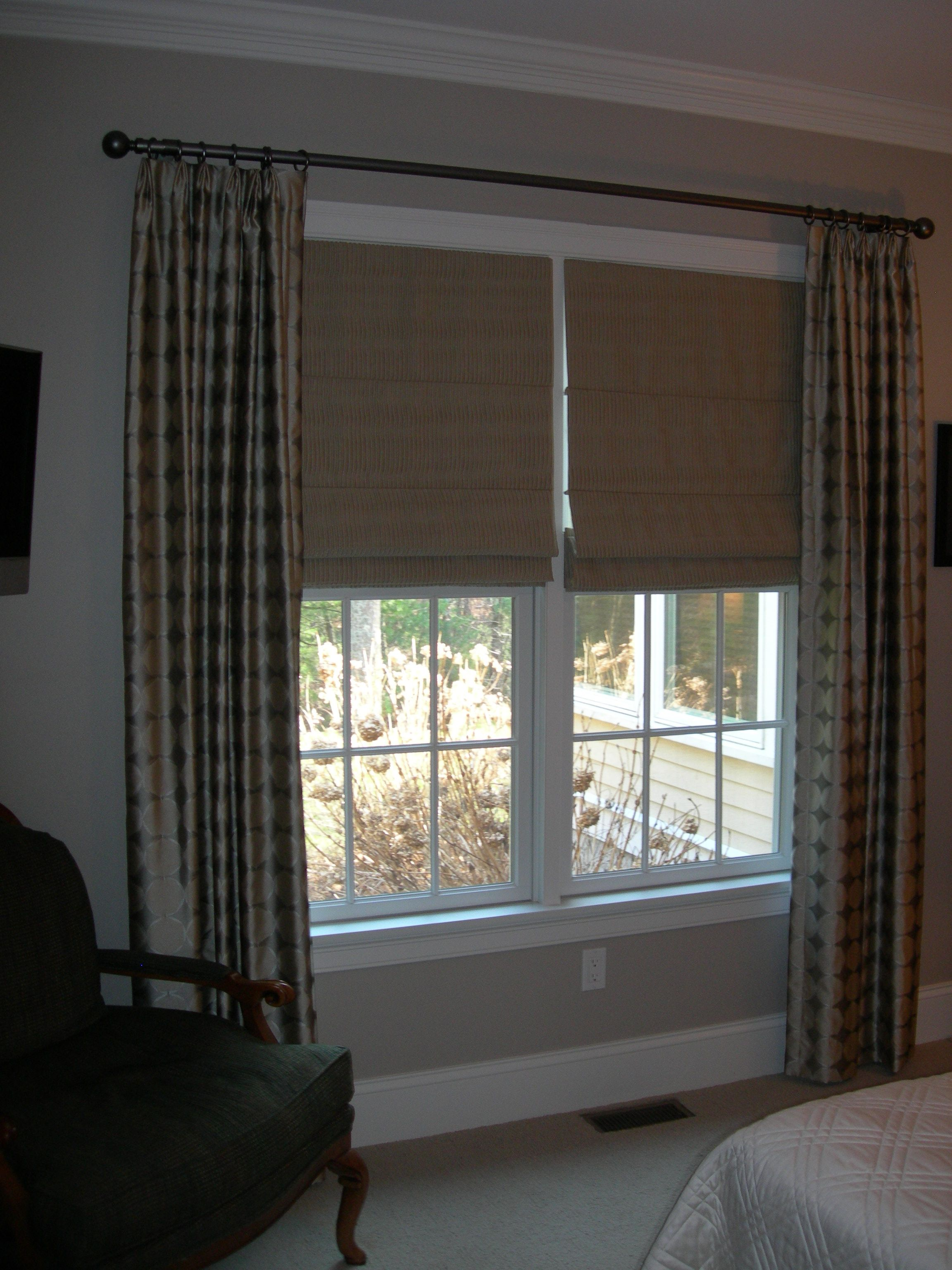 masculine window treatments man cave donghia silk panels and elegant but masculine touch to this bedroom window