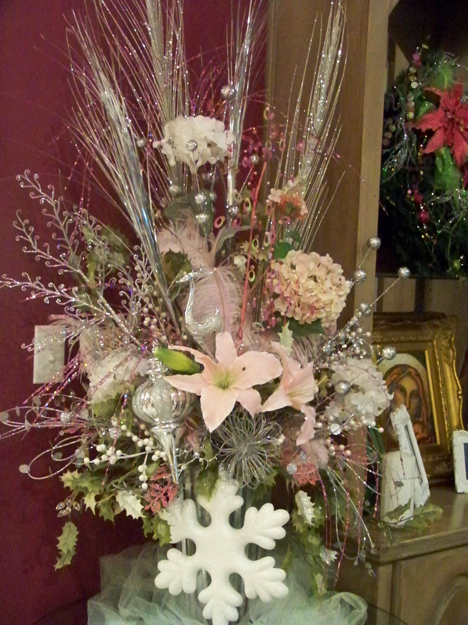 Pink Christmas Arrangement Holidays Pinterest Pink