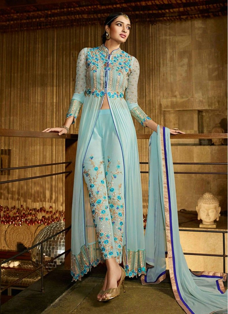 Splendid Georgette Embroidered Sky Blue Trendy Churidar Suit | East ...