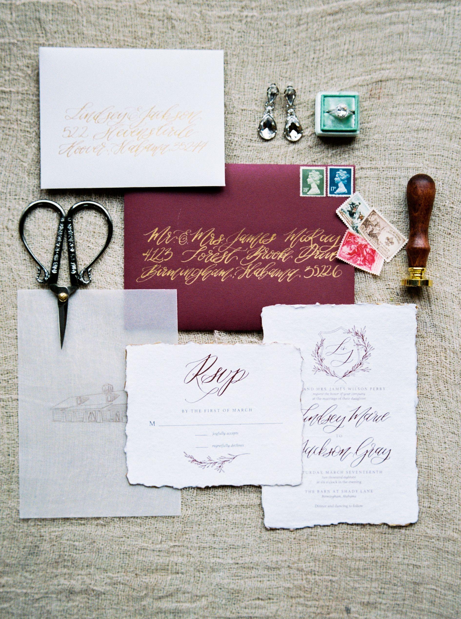 Red Invitation Suite. Calligraphy. Wedding Invites. Wedding ...
