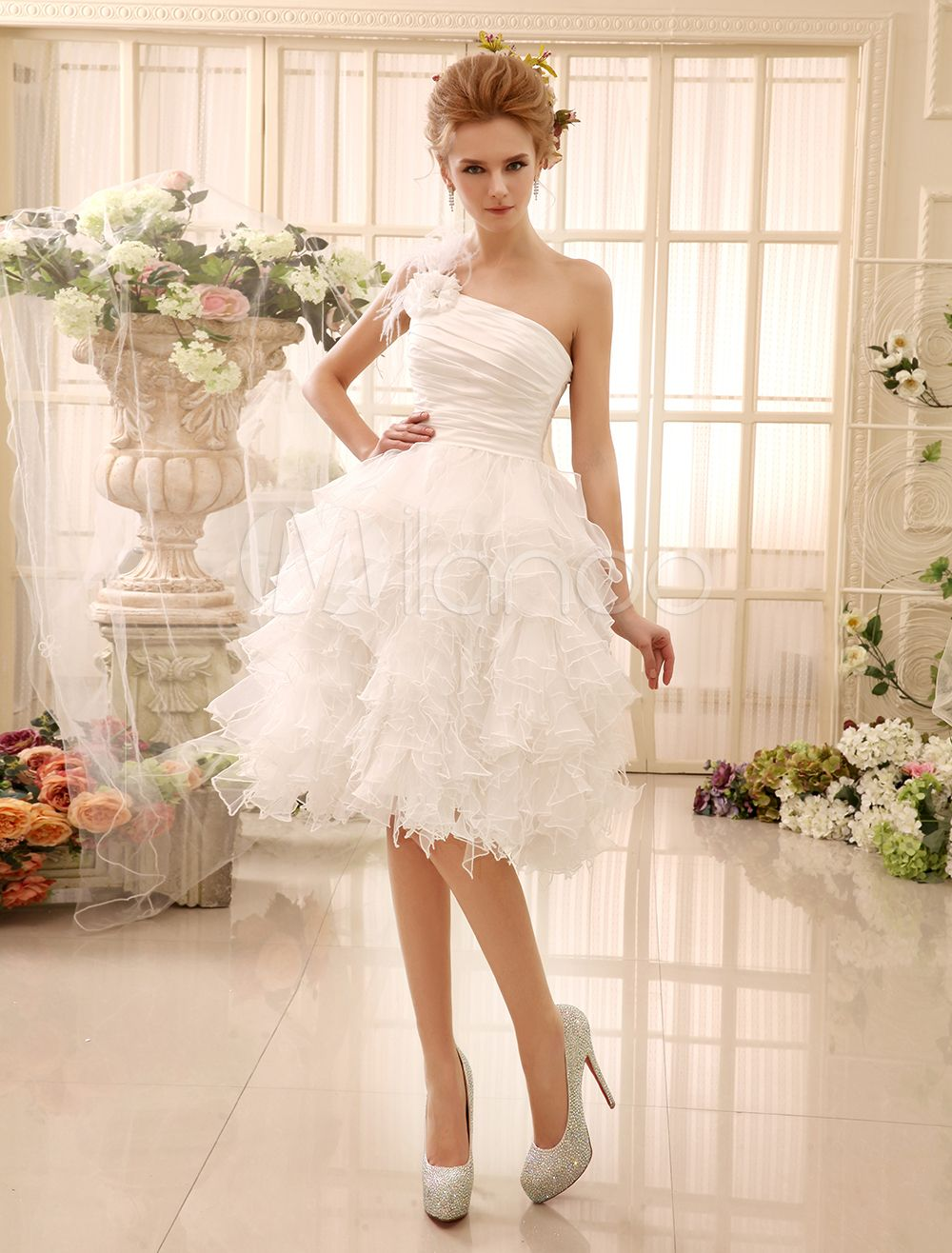 Ivory Wedding Dress Knee Length One Shoulder Flowers Feathers