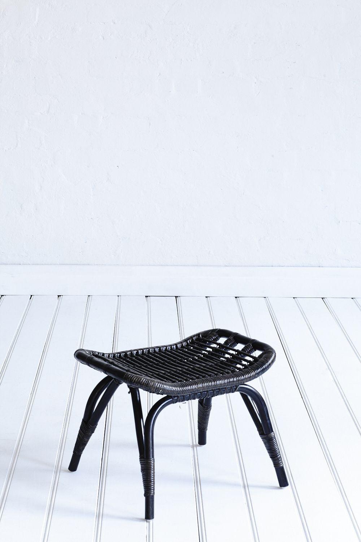 Ottoman Black Wash Black ottoman, Shop chair, Rattan