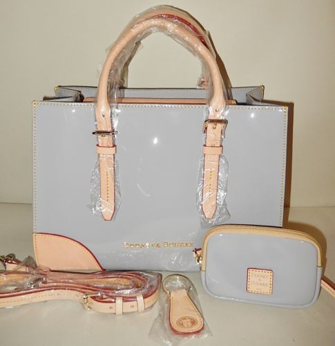 New Dooney & Bourke Patent Leather Satchel with Accessories Grey ...