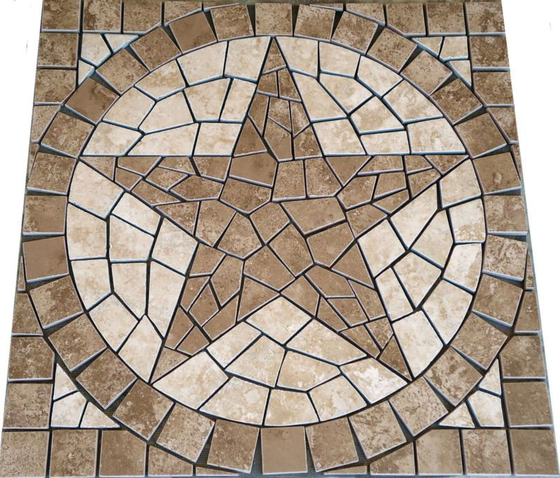 Pacific Sand Texas Star Mosaic Medallion Backsplash Floor Wall Tile Deco Design