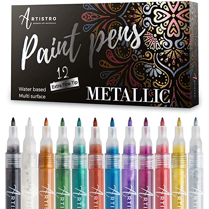 Coloring and More Scrapbook Journals Photo Albums Great for Rock Painting Card Stocks Glitter Paint Markers Paper Project 12 Colors 0.7mm Extra Fine Point Acrylic Glitter Pens Set