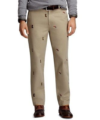 Brooks Brothers Fly Fishing Khaki Pants Chinos 36 x 30 Clark Embroidered 74c3eb3dd