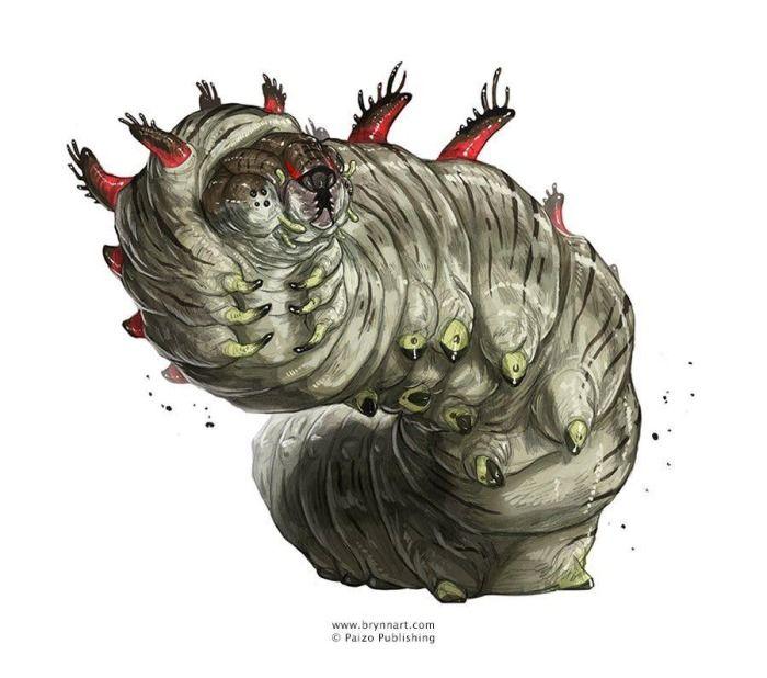 Giant Caterpillar, Pathfinder Bestiary 5, pencil & digital ...