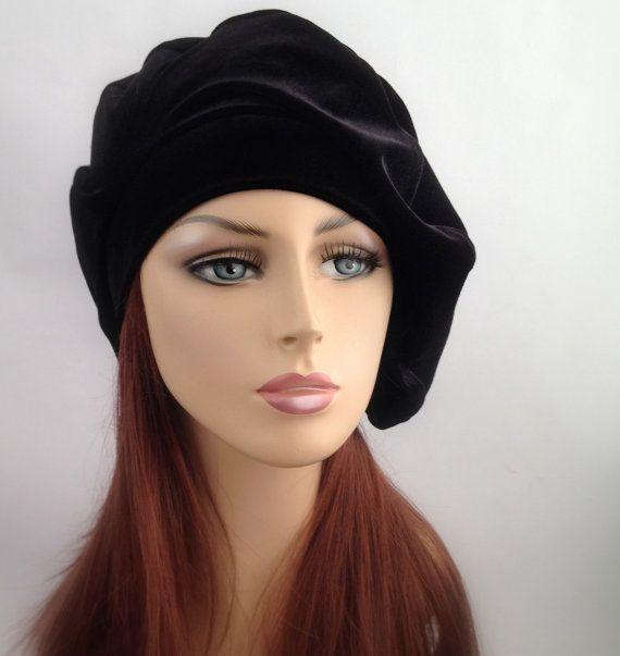0957e41a ON SALE Black Velvet Beret, French Beret, Large Beret, Slouchy Hat,  Christmas Gift