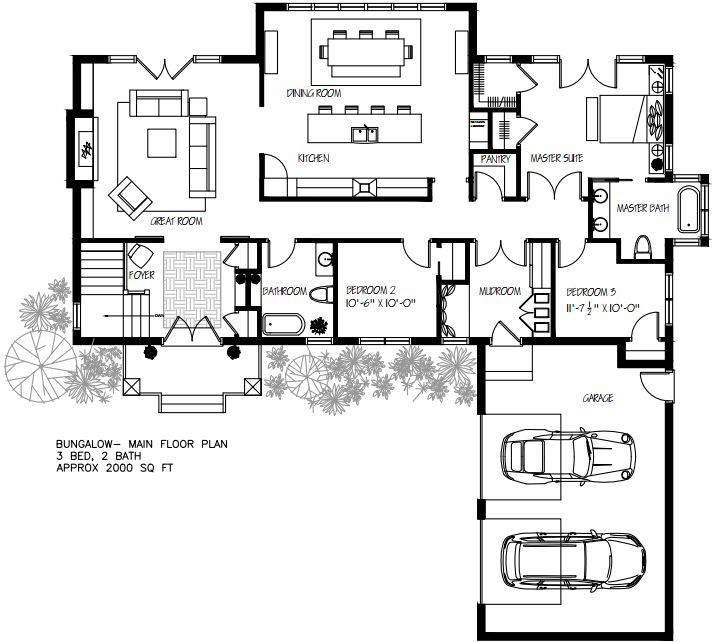 bungalow floor plan: love the kitchen but the bedrooms and