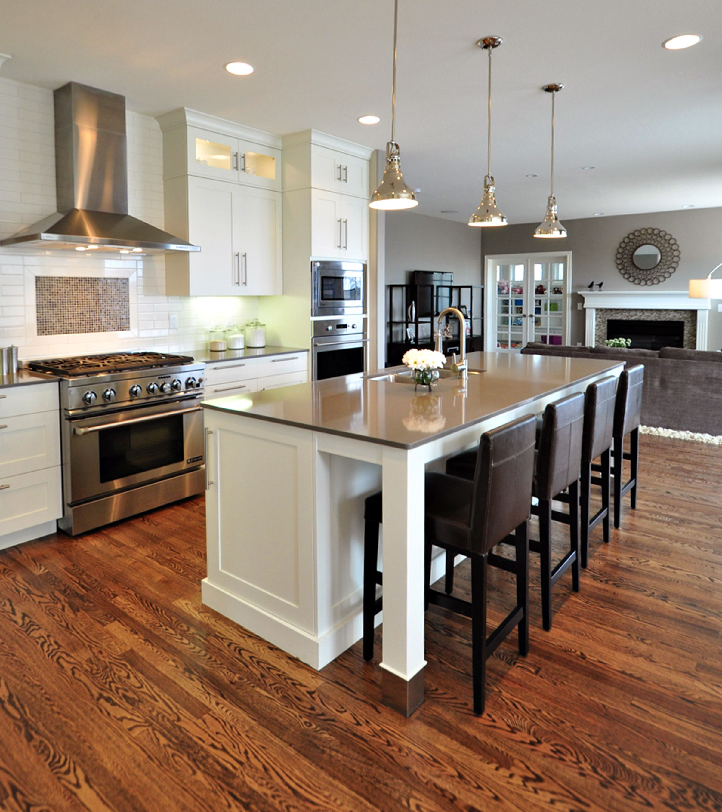 White Kitchen Gray Countertops Large Island Stinless
