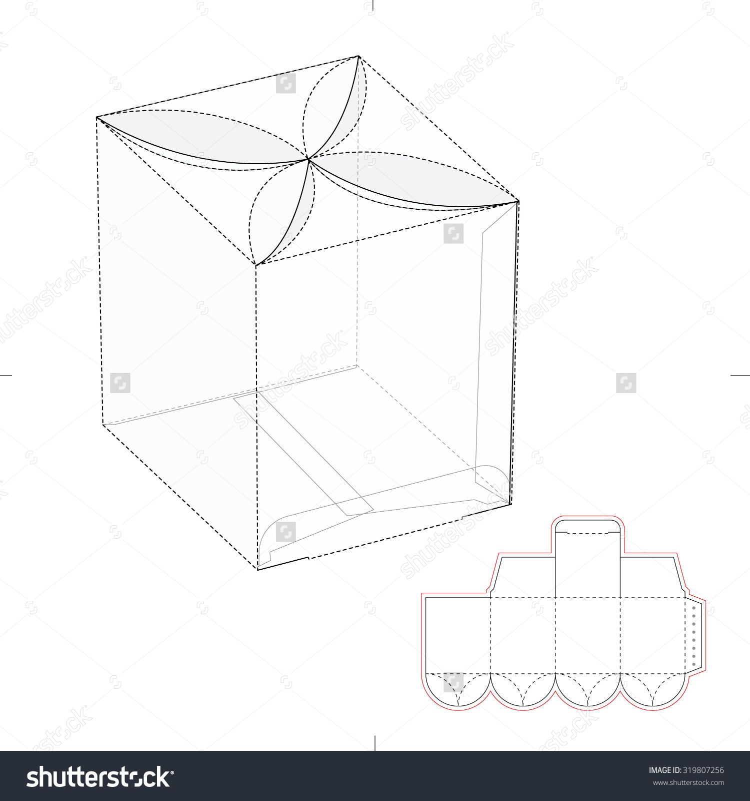 hexagonal box with die cut template stock vector illustration