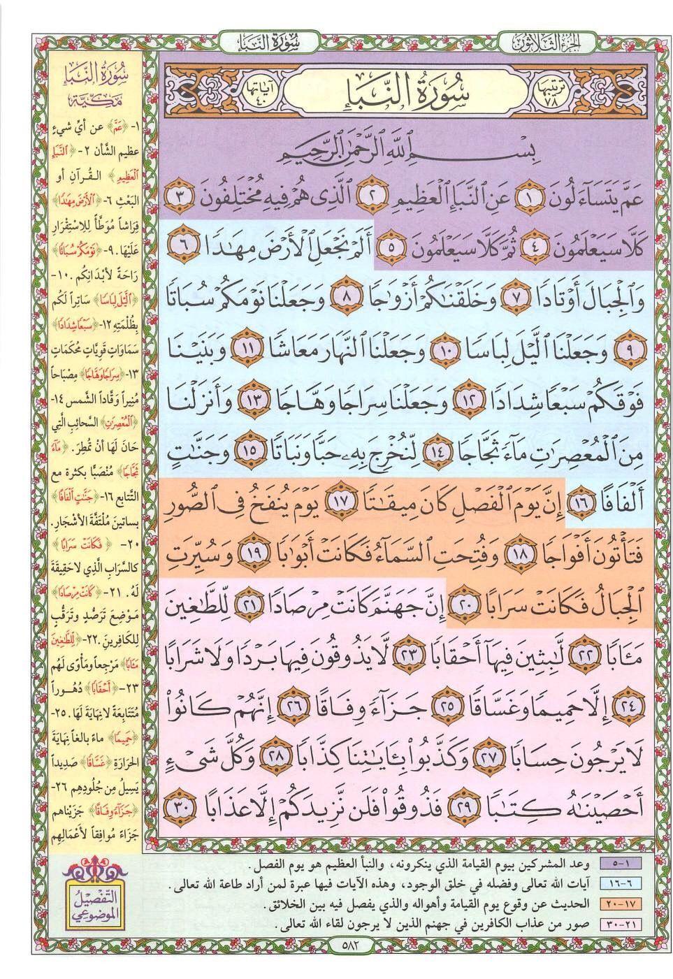 ١ ٣٠ النبأ Quran Verses Islamic Kids Activities Islam For Kids