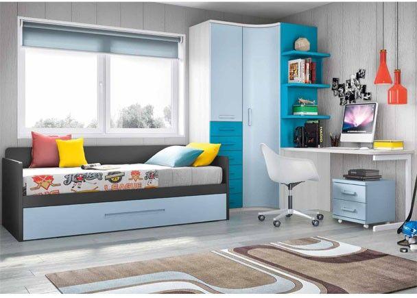 Habitaci n infantil con cama nido y armario rinc n for Armario habitacion infantil