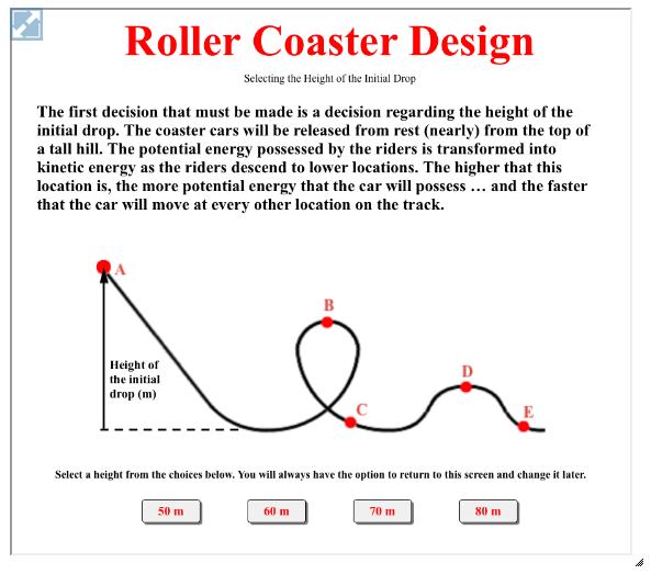 With the Roller Coaster Design Interactive, learners investigate the