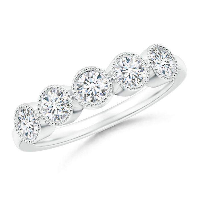 Angara Milgrain-Edged Pave Set Diamond Flower Engagement Ring OYMBQ