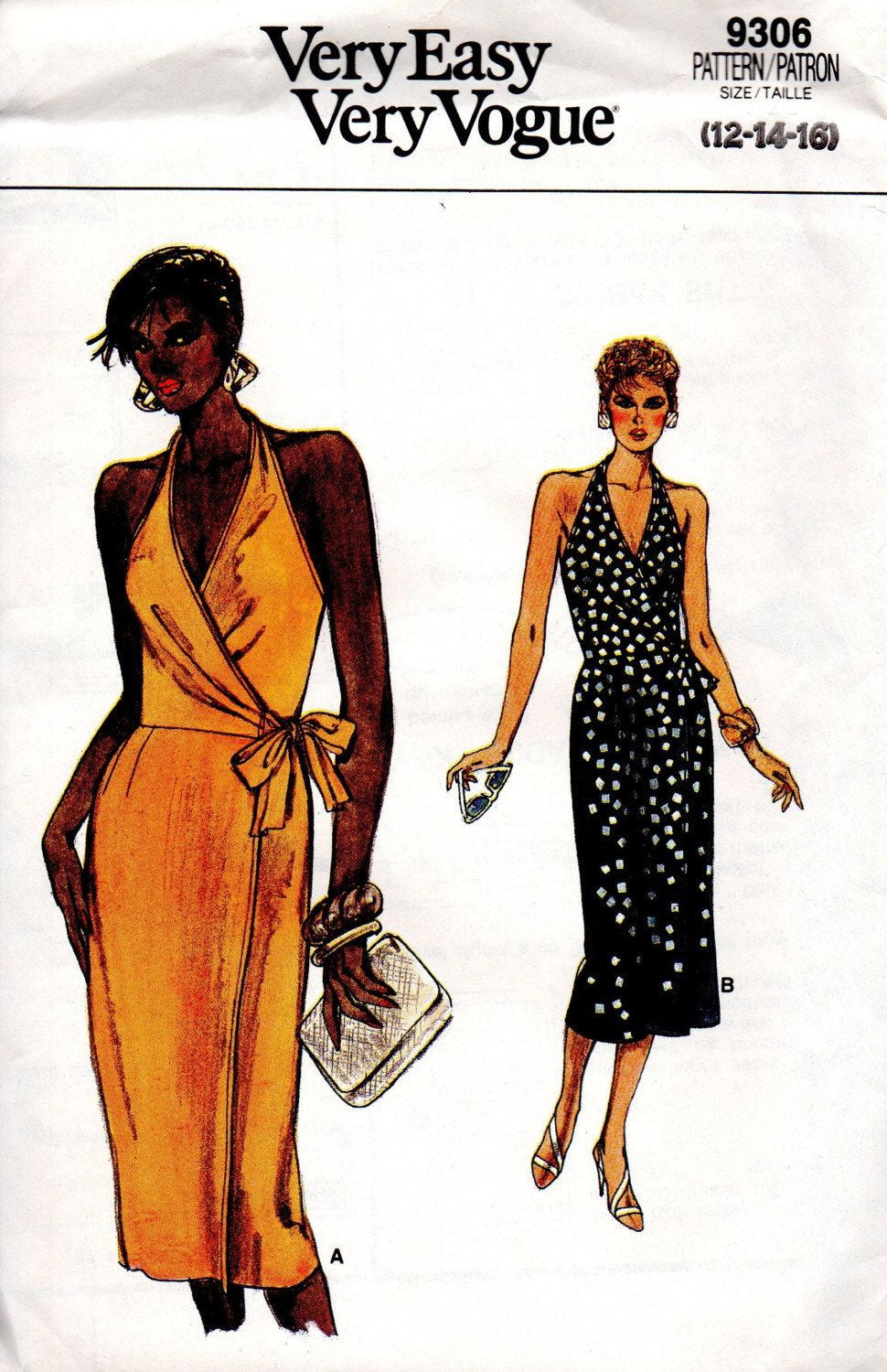Vogue 9306 Sewing Pattern Sexy Cocktail Party Wrap Dress Halter Neck ...