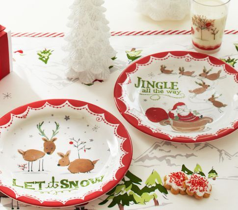 Jingle Bells u0026 Let It Snow Christmas Plate Set | Pottery Barn Kids & Jingle Bells u0026 Let It Snow Christmas Plate Set | Pottery Barn Kids ...