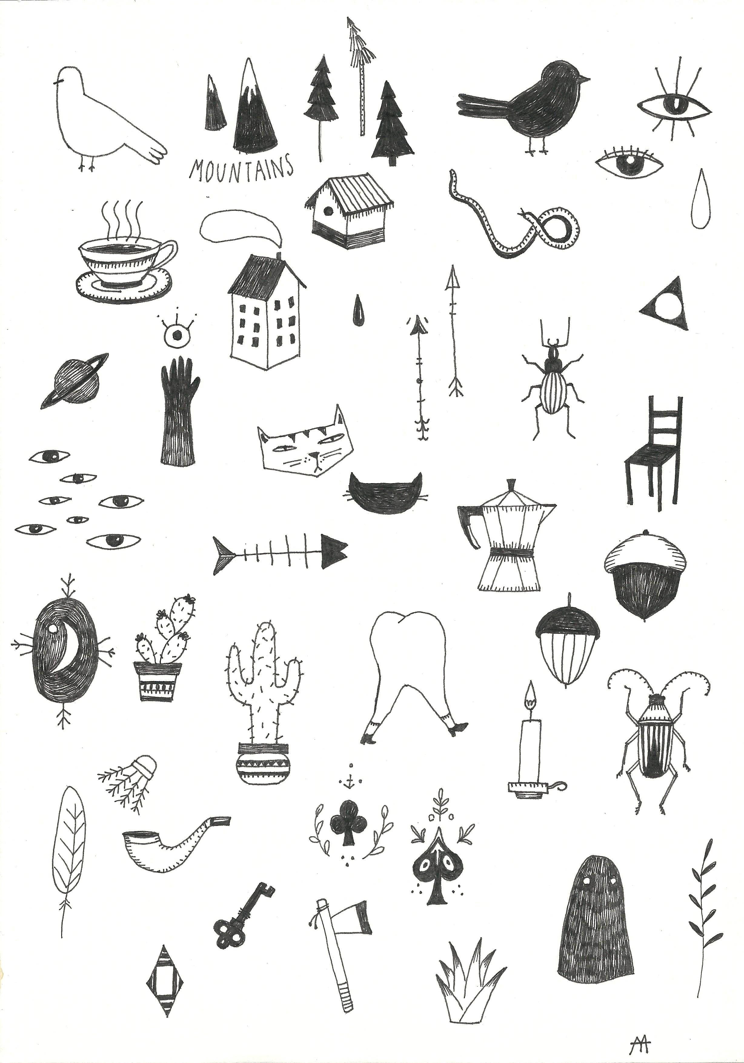 Маленькие черно белые рисунки тулуме
