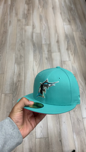 Florida Marlins 10th Anniversary New Era 59fifty Fitted Hat Glow In The Dark Clear Mint Beet Under Brim In 2021 Fitted Hats New Era 59fifty New Era