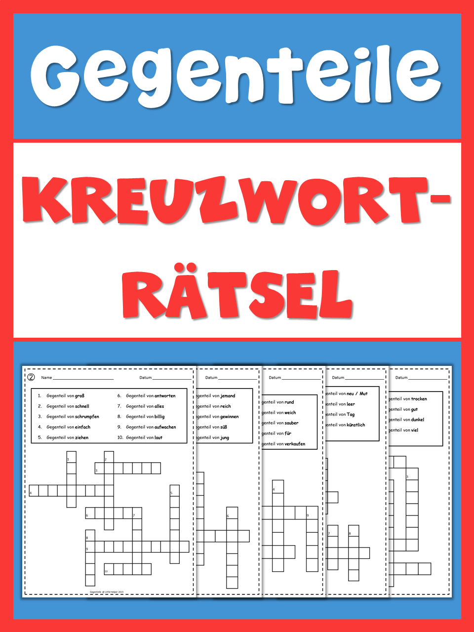German Opposites Crossword Puzzles