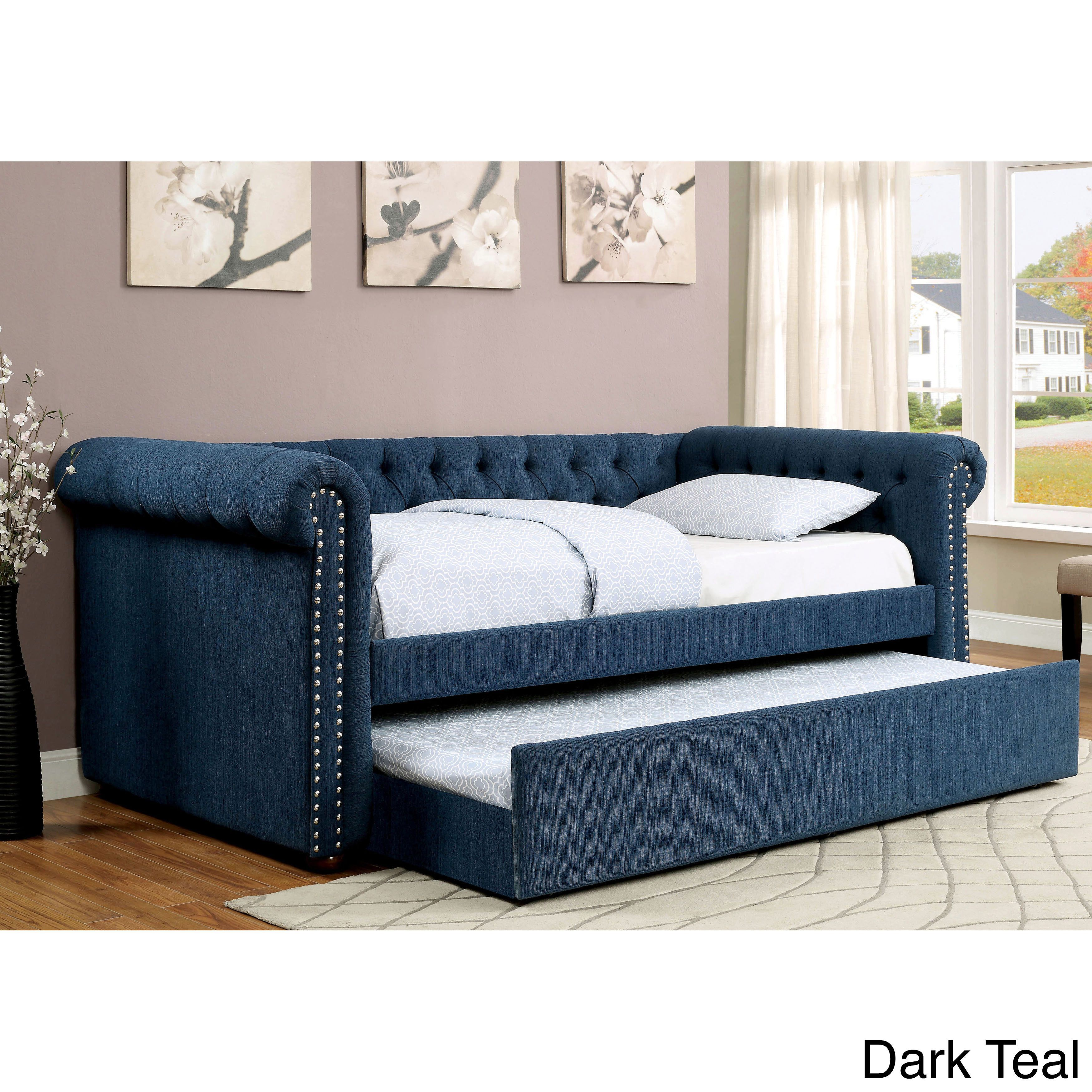 Furniture Of America Nellie Tuxedo Style Tufted Flax Daybed