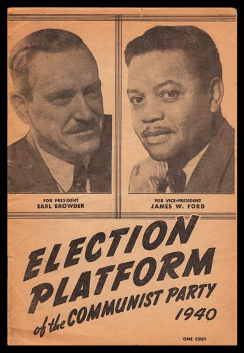 Cover Of Campaign Brochure For Earl Browder And James W Ford