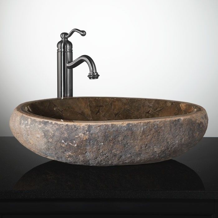 Mosaic Natural River Stone Vessel Sink Brown Onyx