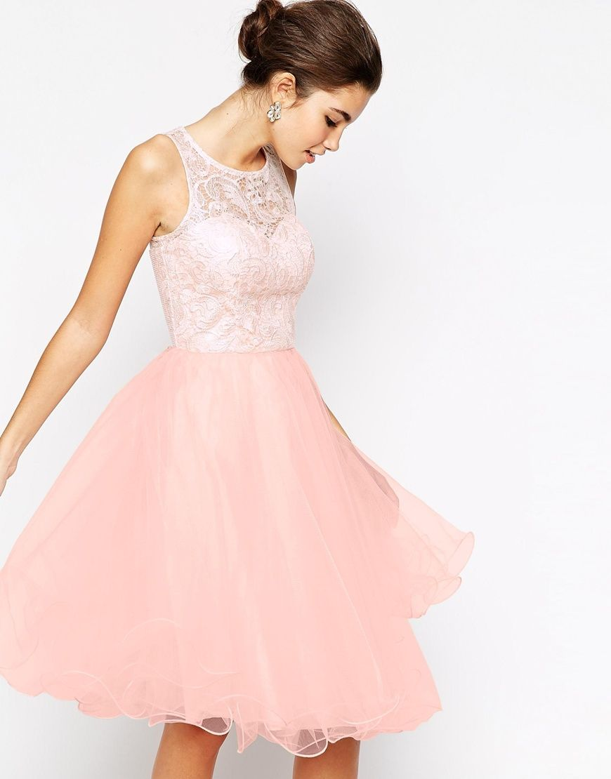 Image 1 of Chi Chi London Applique Bust Midi Debutante Prom Dress ...
