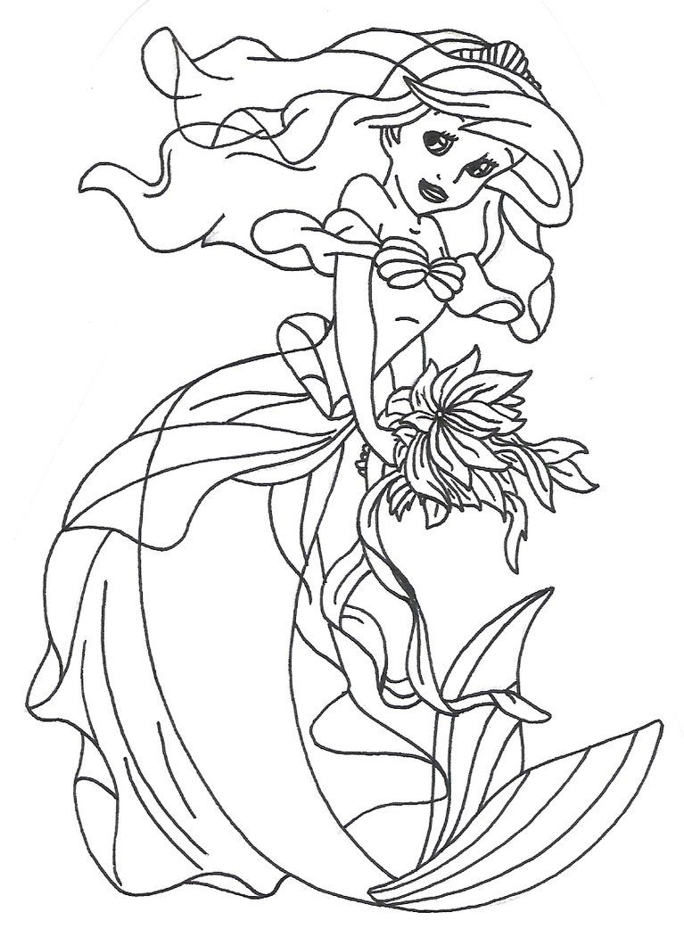 Ariel dress colouring pages