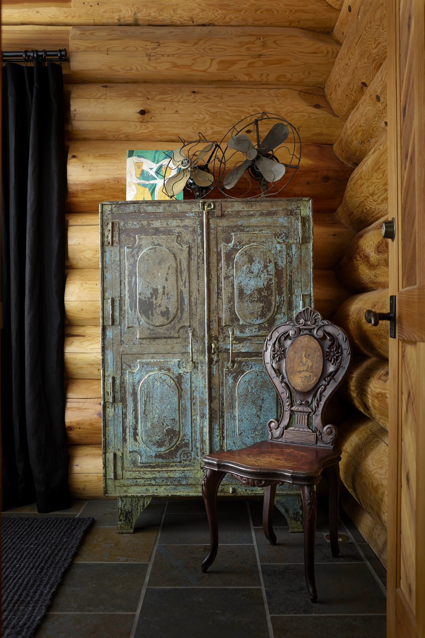 Hallway storage armoire  Victorian Log Cabin Drawing Room and Guest Bedroom Vintage Armoire