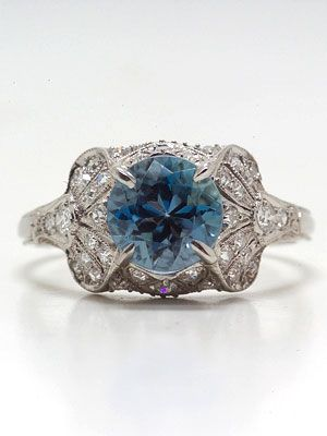antique edwardian aquamarine engagement ring rg 2086