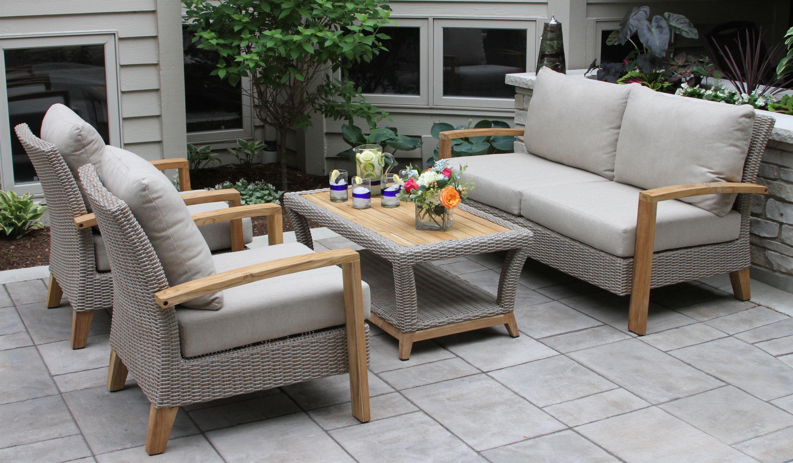 Nautical Teak Wicker 4 Pc Sofa Set Teak Patio Furniture Discount Outdoor Furniture Outdoor Sofa Sets