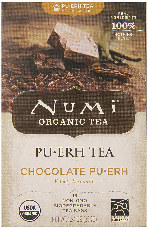 Numi Organic Tea Chocolate Puerh, Full Leaf Black Tea, 16