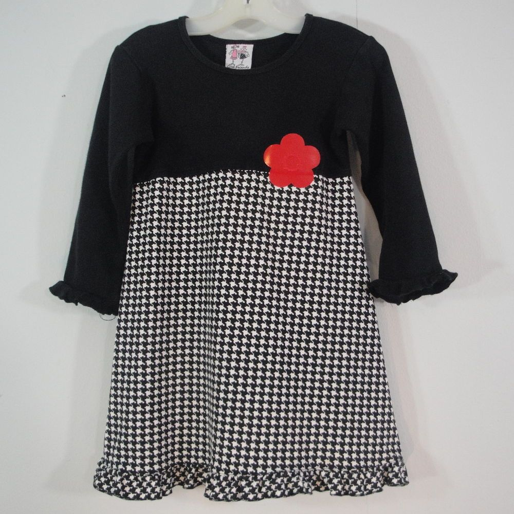 Girl friends by anita g dress black white houndstooth check red